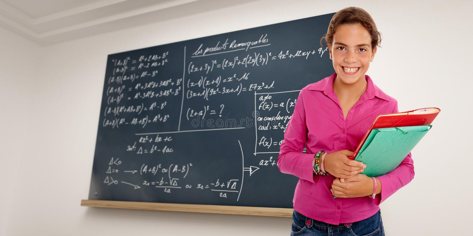 Download Clever schoolgirl stock image. Image of cute, pupil, class - 20306427