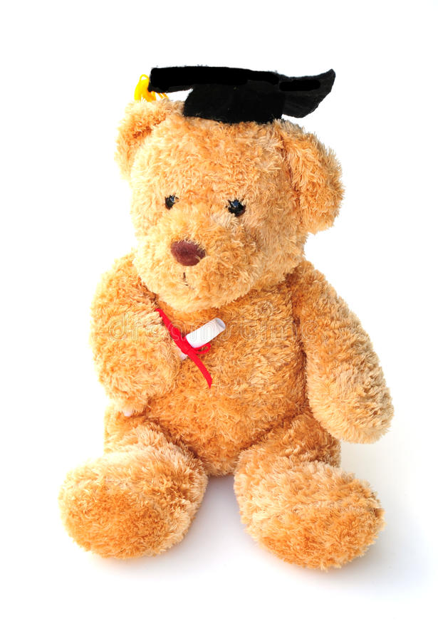 Clever ted. Shot of a teddy bear receiving his educational award stock photography