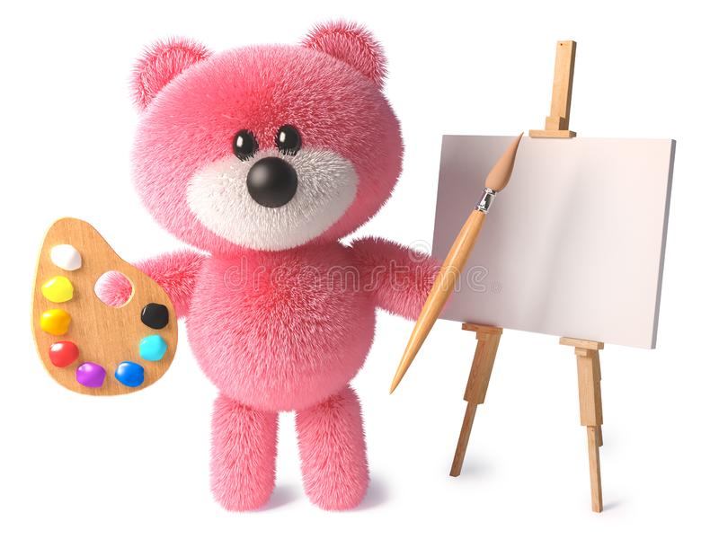 Clever teddy bear with cuddly pink fur is an artist with paintbrush palette and easel, 3d illustration royalty free illustration