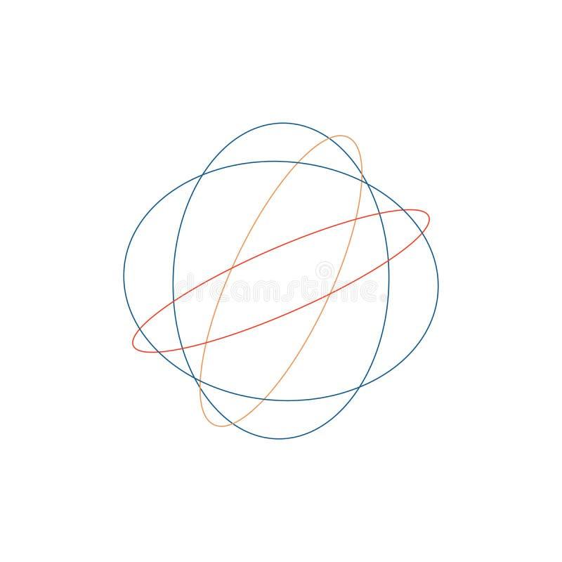 Clew Tangled do círculo, textura intrincada colorida Círculos tangled coloridos caóticos Listras do caos Ilustração do vetor isol ilustração stock