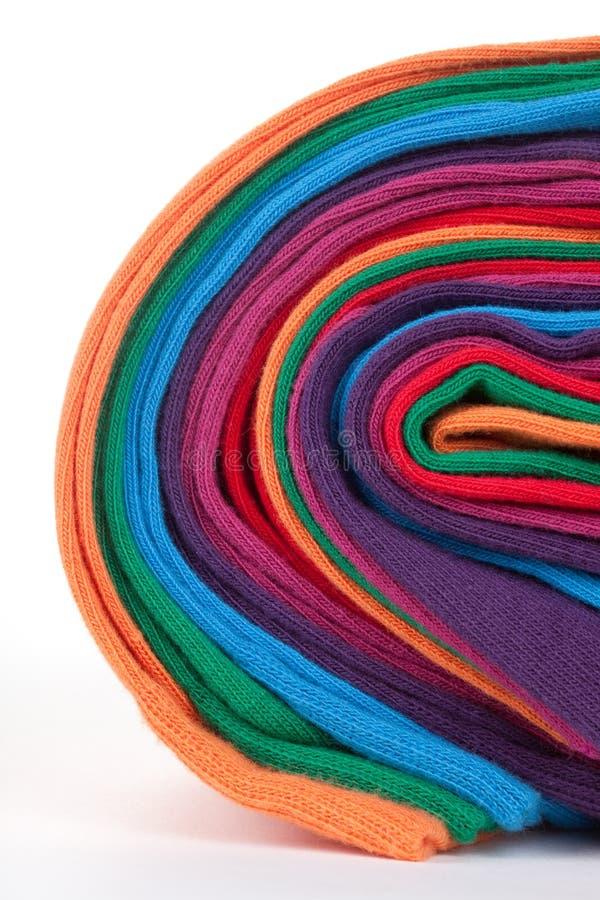 Clew van kleurrijke katoenen textielstof stock afbeelding