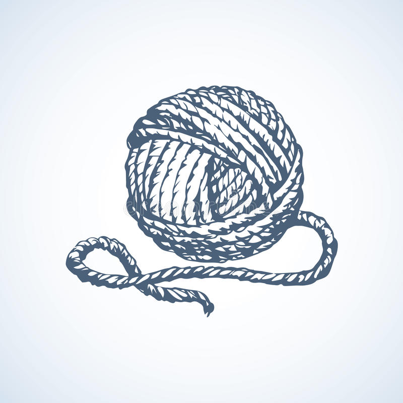 Big cute circle twisted tied ravel twine strand coil royalty free illustration