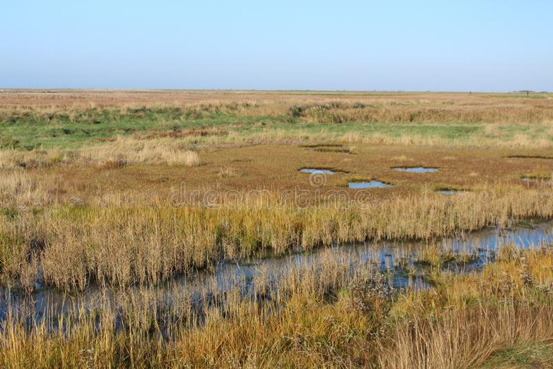 Cley by the Sea marshes from coastal path stock photos