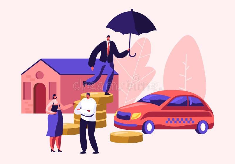 Cliënt die met de Agent van de Verzekeringsvrouw voor het Ondertekenen van Polis voor Bezitshuis en Autobescherming spreken Mens  vector illustratie