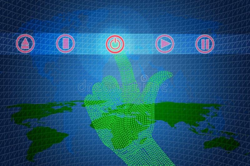 Clic binario della mano aperto o vicino. illustrazione di stock