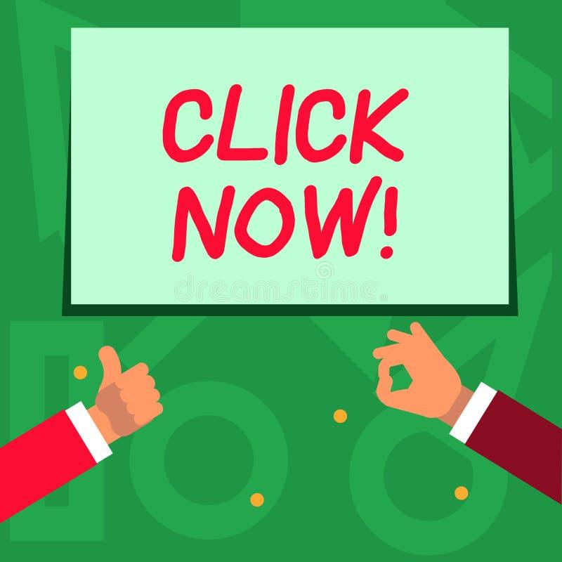 Clic d'écriture des textes d'écriture maintenant Signification de concept en appuyant sur le bouton sur le dispositif de contrôle illustration stock