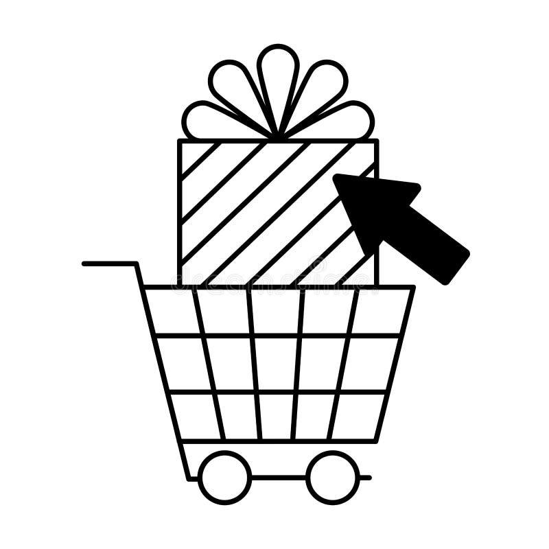 Clic de achat en ligne de bo?te-cadeau illustration stock