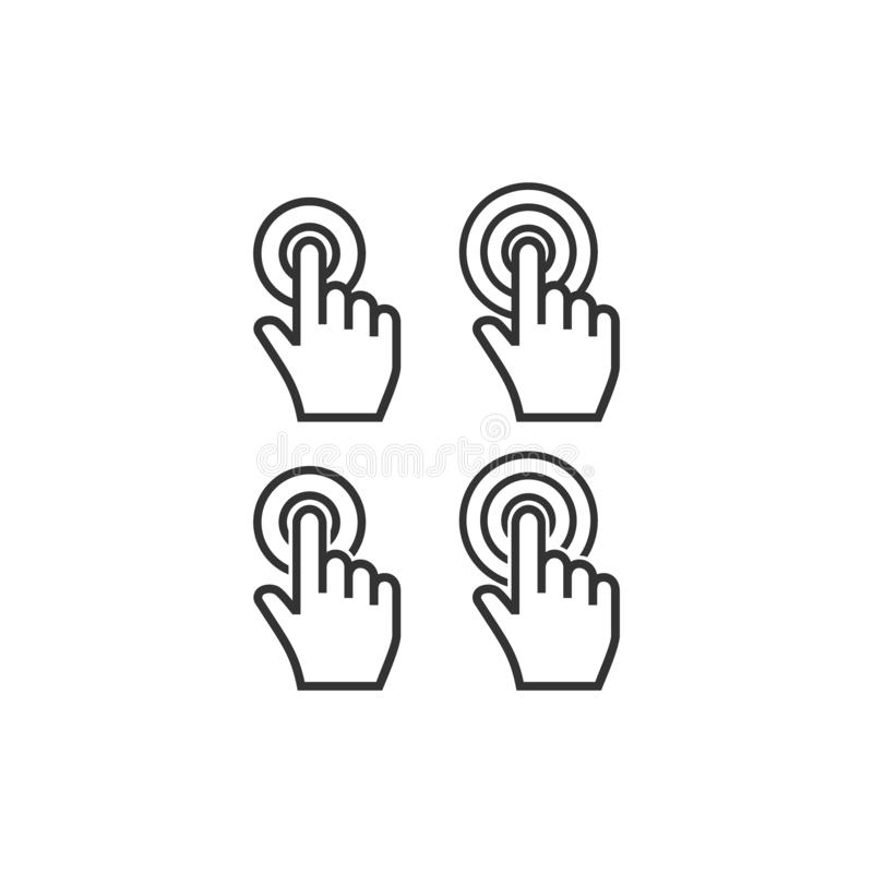 Clic de doigt de point de main de curseur avec l'ensemble d'icône de vecteur de cercles illustration stock