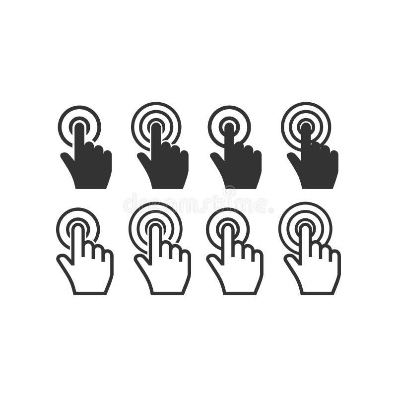 Clic de main de curseur de souris avec l'ensemble d'icône de vecteur de cercles illustration de vecteur