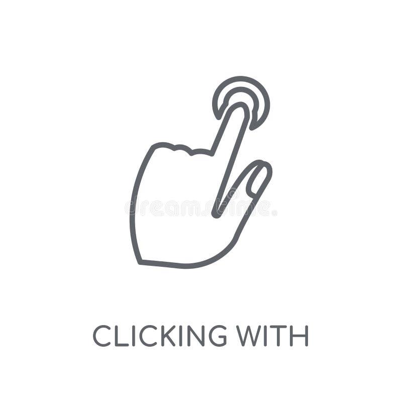 Cliccando con l'icona lineare della mano sinistra Cliccare moderno del profilo royalty illustrazione gratis