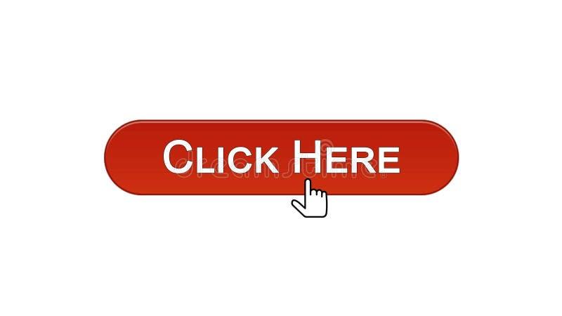 Clicchi qui il colore rosso cliccato bottone del vino del cursore del mouse dell'interfaccia di web, annunciante illustrazione vettoriale