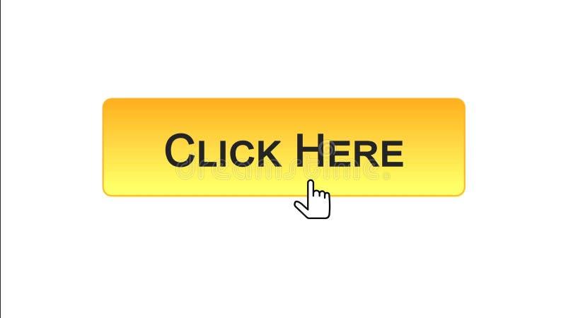 Clicchi qui il cursore del mouse cliccato bottone dell'interfaccia di web, colore arancio, annunciante illustrazione vettoriale