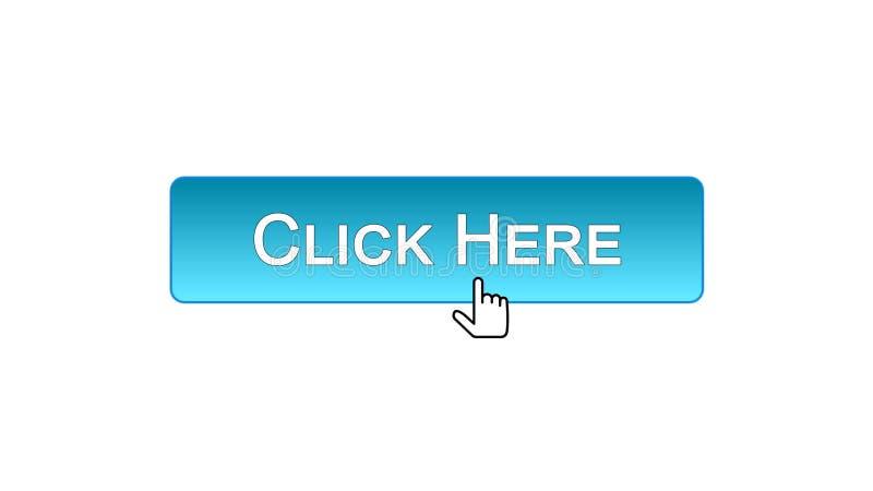 Clicchi qui il cursore del mouse cliccato bottone dell'interfaccia di web, colore blu, annunciante illustrazione vettoriale