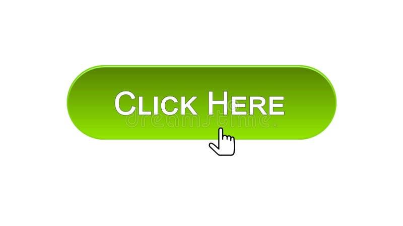 Clicchi qui il cursore del mouse cliccato bottone dell'interfaccia di web, colore verde, annunciante illustrazione di stock