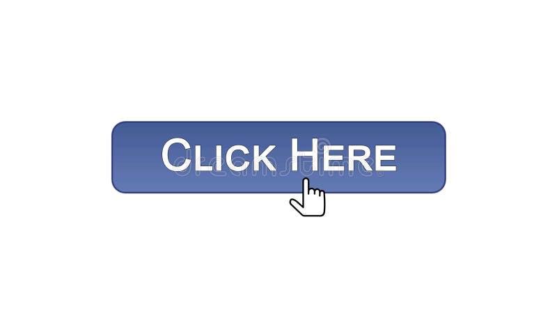 Clicchi qui il cursore del mouse cliccato bottone dell'interfaccia di web, colore viola, annunciante illustrazione vettoriale