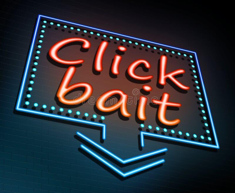 Click bait concept. 3d Illustration depicting an illuminated neon sign with a click bait concept royalty free illustration