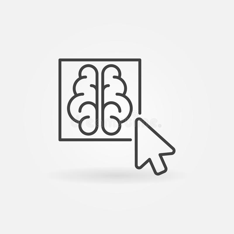 Click on brain button outline icon - vector concept line sign. Click on brain button outline icon - vector artificial intelligence brain concept thin line symbol royalty free illustration