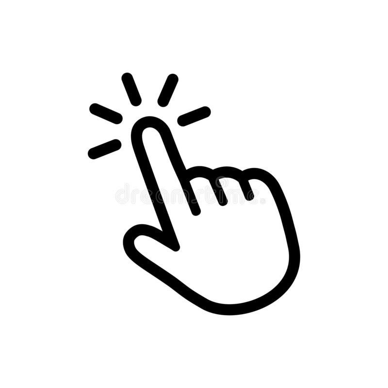 Click Button with Hand Pointer Clicking. Click Here Web Button. Isolated  Website Hand Finger Clicking Cursor – Vector Stock Vector - Illustration of  enter, button: 161010045