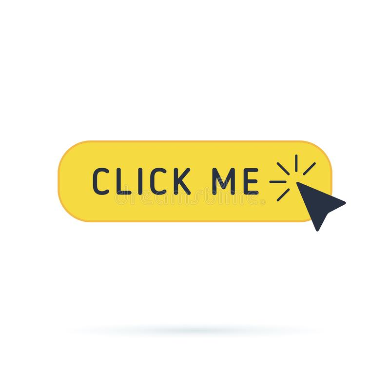 Click button with hand pointer clicking. Click me vector web button. Isolated website yellow bar icon with mouse arrow royalty free illustration