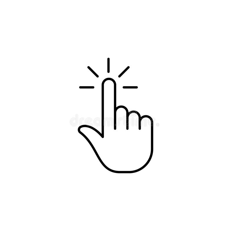 Click, finger, gesture, hand, one outline icon. Element of simple icon for websites, mobile app, info graphics. Signs and symbols stock illustration