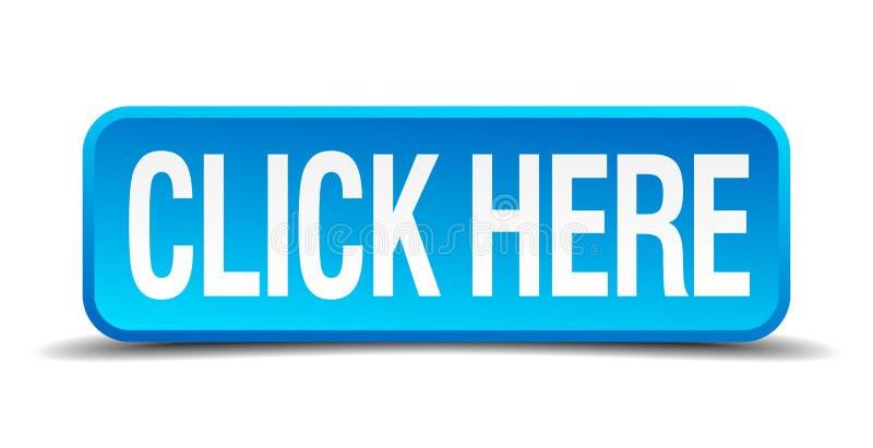 Click here blue 3d realistic square button vector illustration
