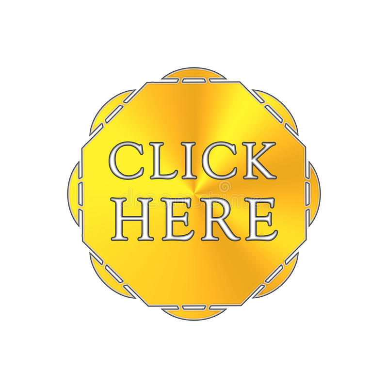 Click here button. Gold button click here - octagon. Button shape vector illustration