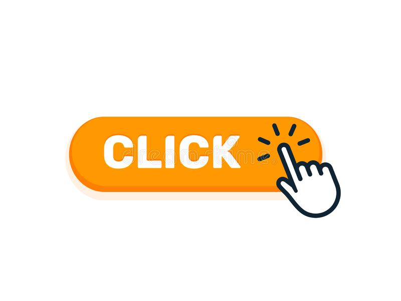 Click Here Button With Hand Icon. Vector Click Web Sign Cursor Symbol. Button Isolated Stock Vector - Illustration of advertising, object: 138278138