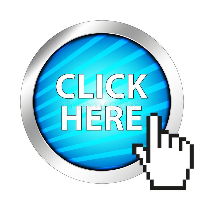 Click here button. A Click here button with a hand shaped cursor stock illustration
