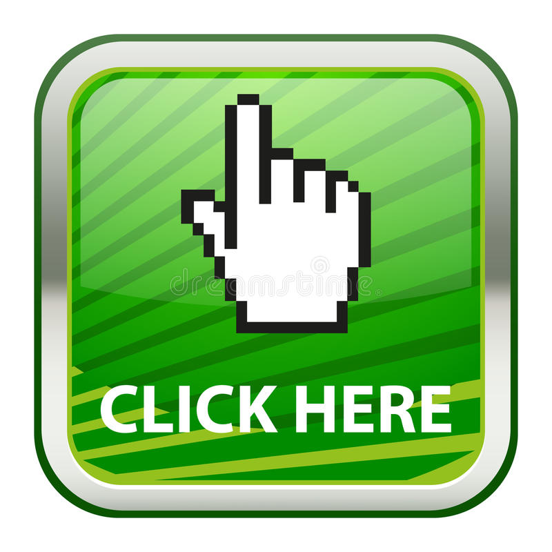 Click here. An illustration of button with click here and a hand shaped cursor icon vector illustration