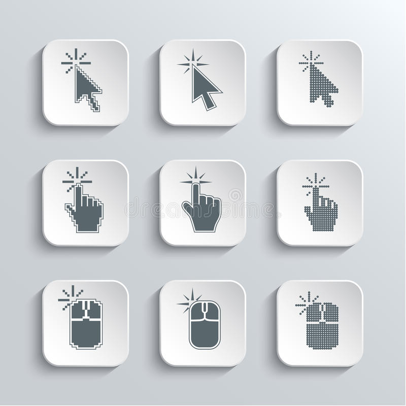 Click Here Mouse Web Icons Set. Vector White App Buttons Design Element With Shadow. Trendy Design Template stock illustration
