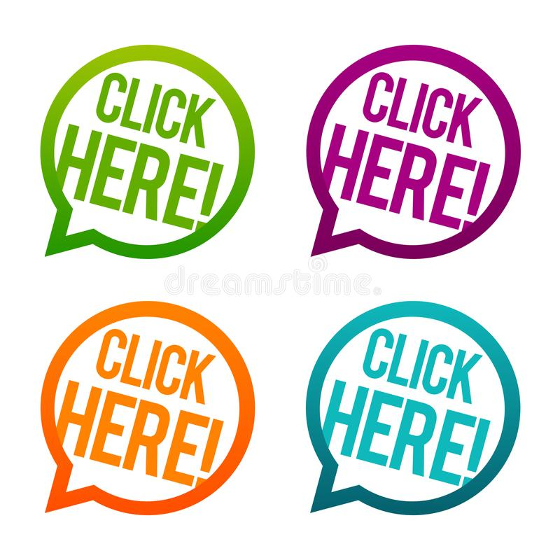 Click here round Buttons. Circle Eps10 Vector. stock illustration