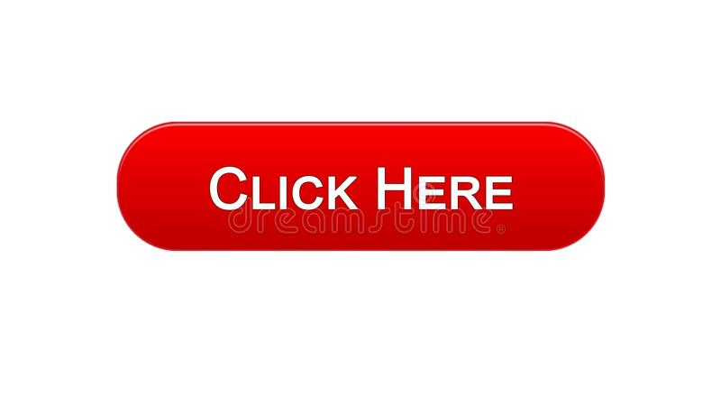 Click here web interface button red color, browsing web-site, advertising. Stock footage stock illustration