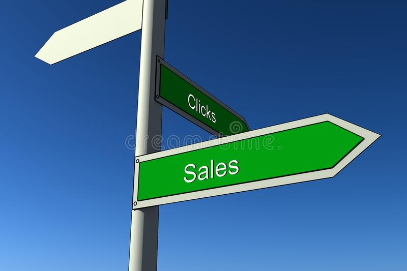 Click and sales signs royalty free illustration