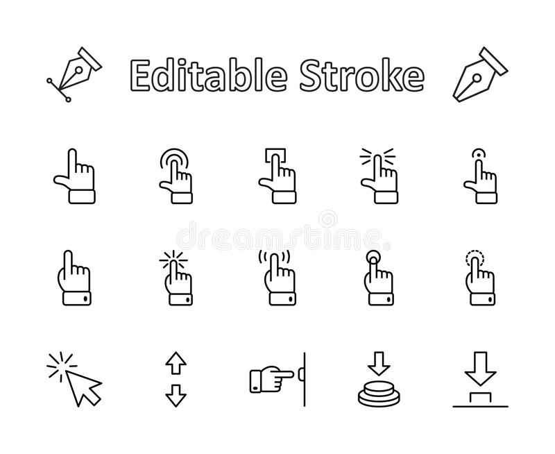 Click Set of Buttons related Vector Icons. Contains such Icons as Cursor, Mouse, Hand, Index Finger, Arrow and more stock image