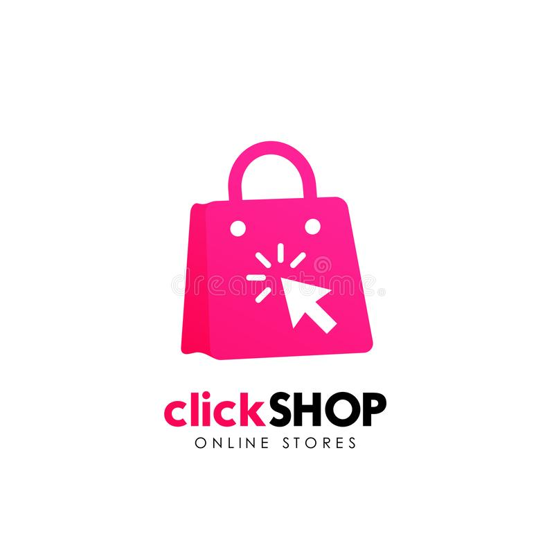 Click shop logo icon design. online shop logo designs template. Click shop logo icon design. online shop logo design template stock illustration