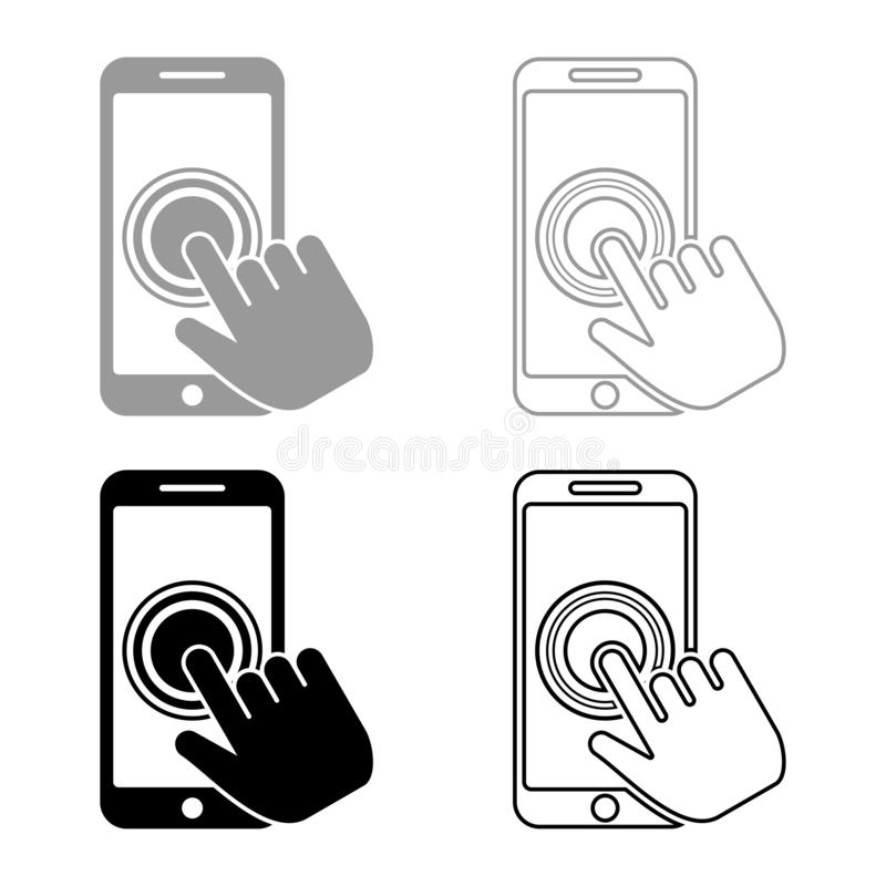Click on touch screen smartphone Modern smartsphone with hand clicking on screen Finger click on mobile phone Action in apps royalty free illustration