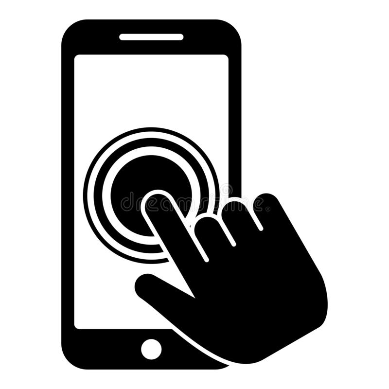 Click on touch screen smartphone Modern smartsphone with hand clicking on screen Finger click on mobile phone Action in apps stock illustration