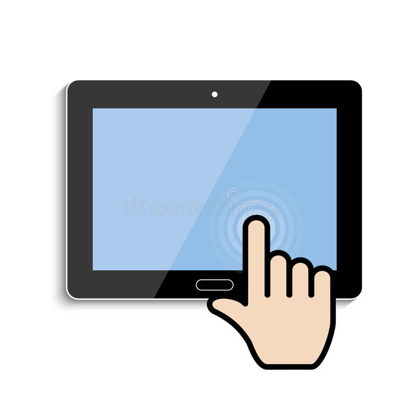 Click on the touch screen tablet. Vector eps10 royalty free illustration