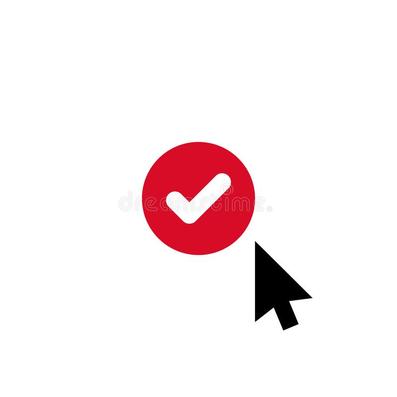 Click vector icon, cursor symbol with check sign. Cursor arrow icon and approved, confirm, done, tick, completed symbol vector illustration