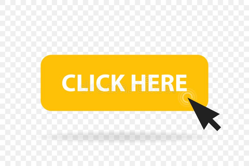Click web button template. Vector yellow bar, computer mouse click here cursor royalty free illustration