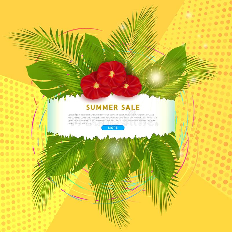 Clickable banner for summer sale with place for text, tropical palm leaves and exotic red flowers on abstract yellow background vector illustration