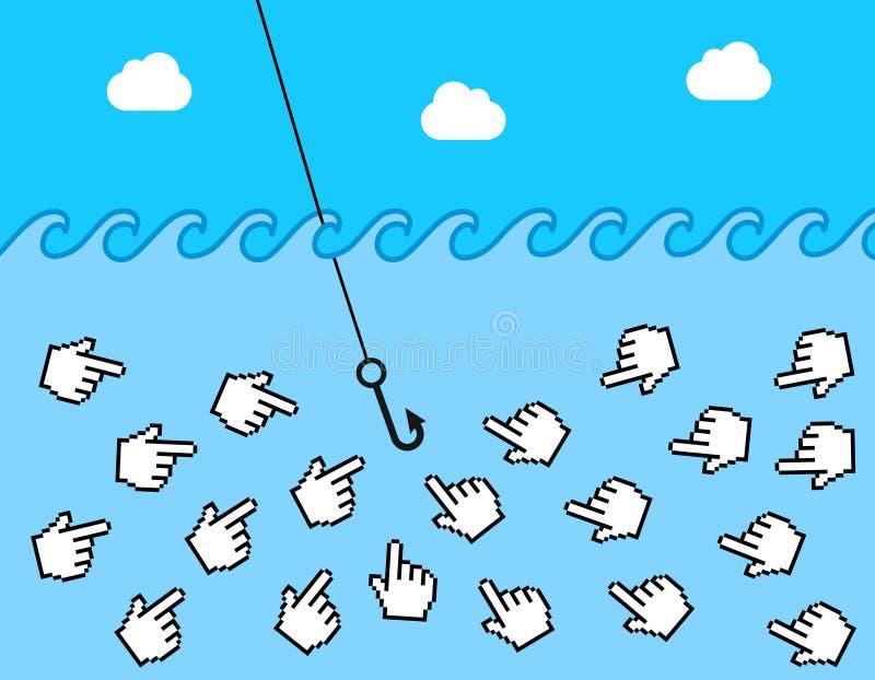 Clickbait em linha ilustração do vetor