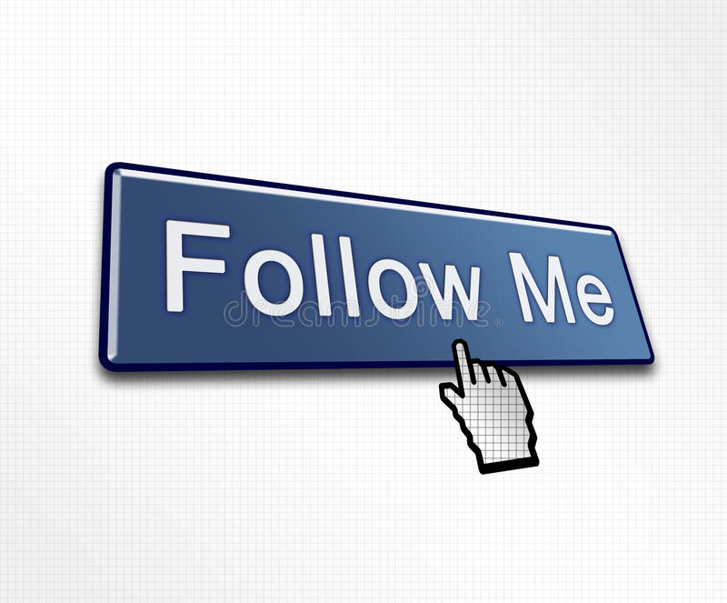 Clicked Follow Me Button. Illustration for Social Media royalty free illustration