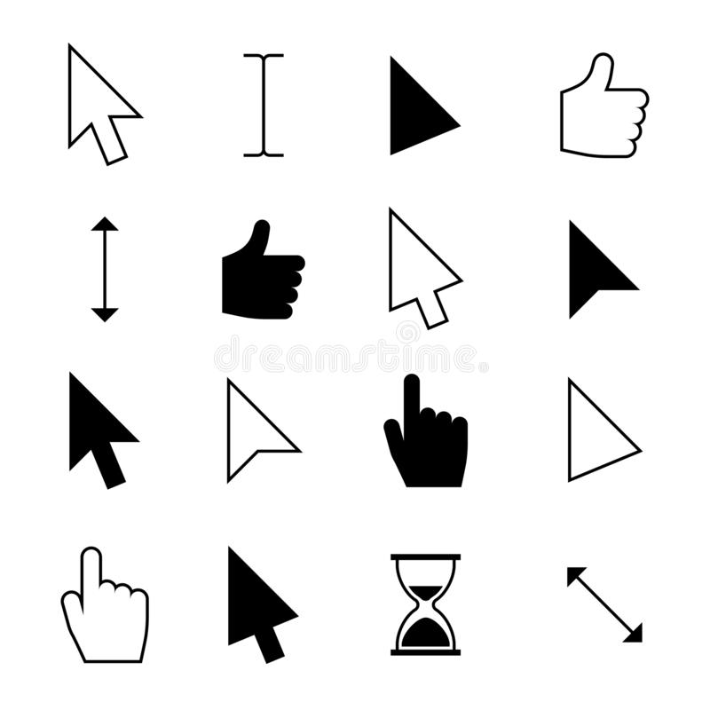 Clicking mouse cursors. Computer finger pointer, arrow click cursor. Web action and choosing icons vector set royalty free illustration