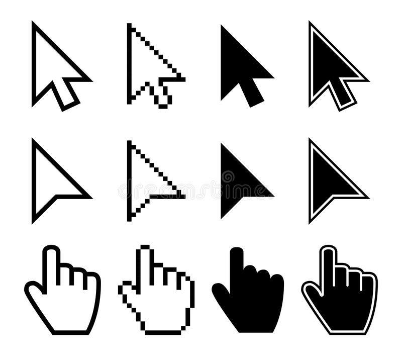 Clicking mouse cursors, computer finger pointers vector set. Mouse pointer finger, cursor arrow hand illustration royalty free illustration