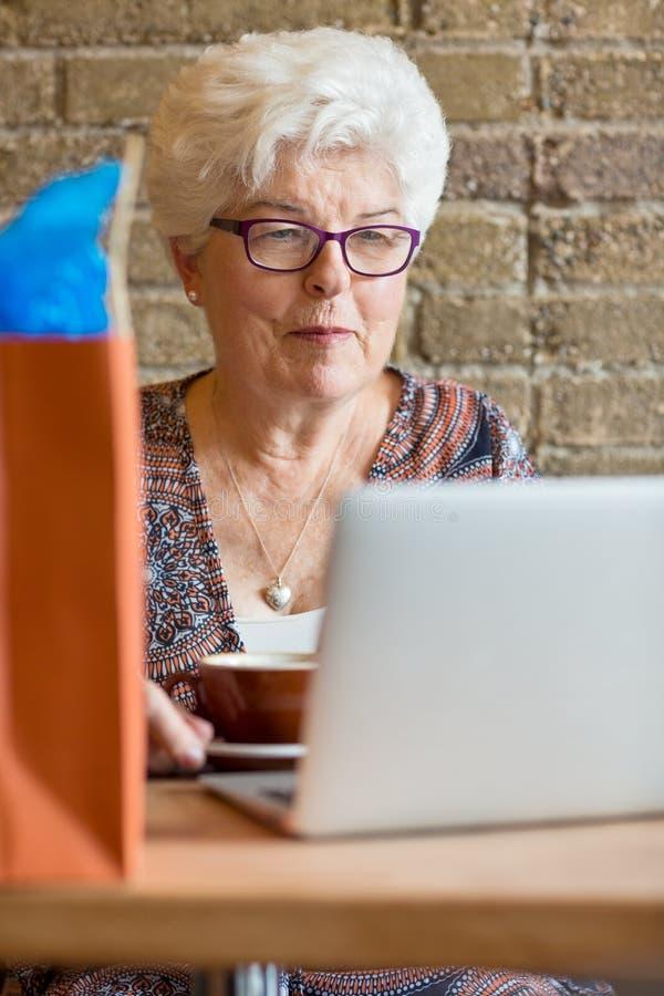 Client à l'aide de l'ordinateur portable en café image libre de droits