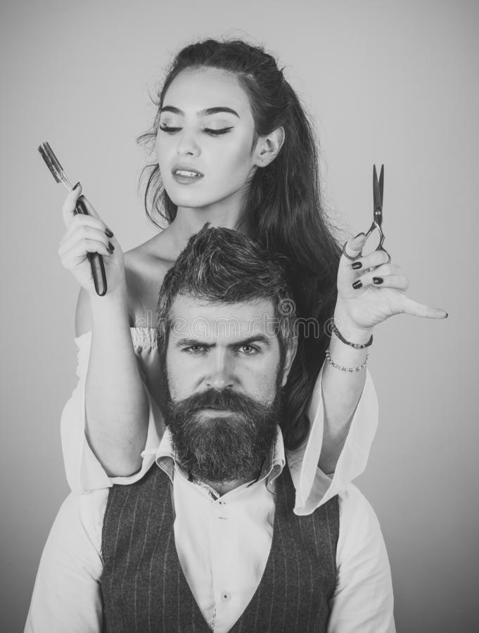 Client during beard shaving royalty free stock images