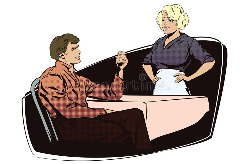 Client cafes talking with the waitress. vector illustration