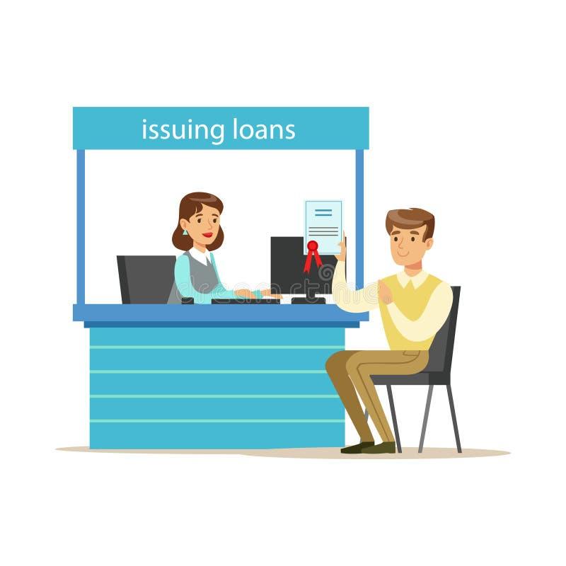 Client de banque obtenant un prêt Service bancaire, gestion des comptes et illustration orientée de vecteur d'affaires financière illustration stock