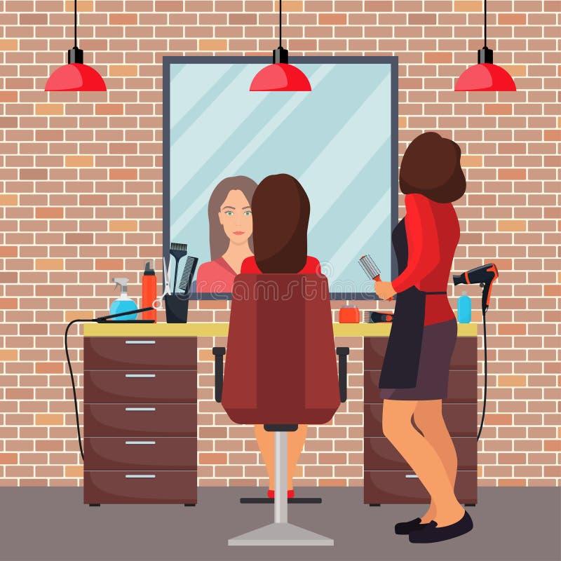 Client de coiffeur et de femme dans le salon de coiffure de beauté Chaise, miroir, table, outils de coiffure, produits cosmétique illustration de vecteur